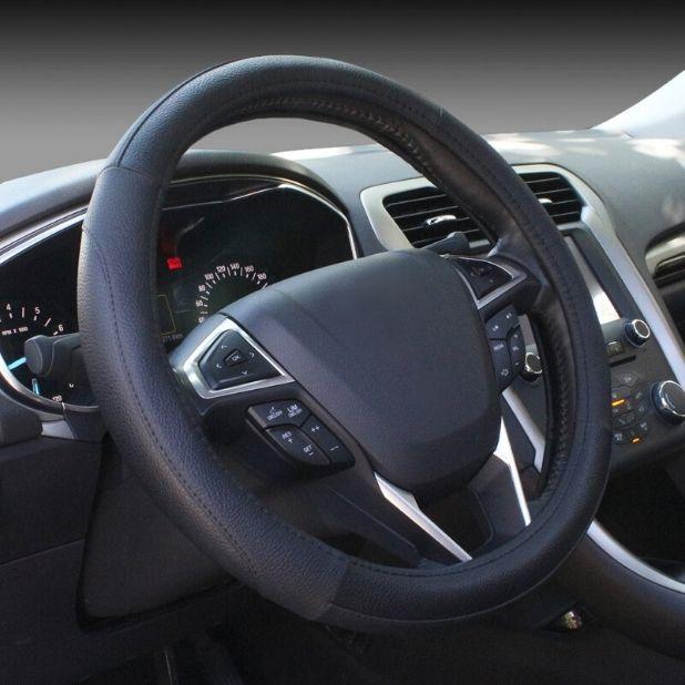 SEG Direct Housse de volant de voiture en cuir microfibre noir automatique